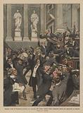 Deputati czechi al Parlamento austriaco che ricorrono alle trombe tamburi, fischi, campanelli …
