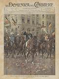 Ingresso trionfale a Bruxelles, nel mattino del 23 decembre, del nuovo re del Belgio Alberto I