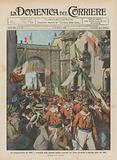 Nel cinquantenario dei Mille, i superstiti della gloriosa legione rientrano per Porta Garibaldi …
