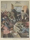 Scuola femminile messa a soqquadro durante la lezione da un toro infuriato penetrato nella scuola stessa