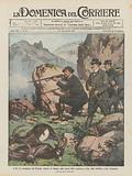 Il Re in compagnia del Principe Alberto di Monaco alla caccia dello stambecco nella valle dell'Orco (Alto Piemonte)