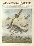 Il primo scontro aereo fra un biplano e un aeroplano, avvenuto a Milano il 1° corr …