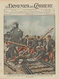 Lo sciopero ferroviario in Francia, soldati che rimovono gli ostacoli posti dagli scioperanti per …