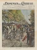 Le grandi prove ciclistiche, pittoresca partenza dei professionisti concorrenti al Giro …