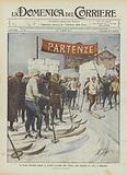 La prima carovana italiana di turismo invernale sullo Spluga, gare nazionali di ski a Madesimo