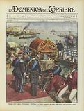 Consegna della bandiera all'incrociatore San Marco a Venezia, trasporto del cofano nella bissona …
