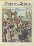 Il saluto augurale di Roma a Torino, partenza delle staffette ciclistiche da Roma recando la pergamena per Torino