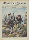 Incidenti di confine, generale e soldati austriaci che si ritirano da Cima Mandriolo davanti …