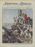 La conquista di Tripoli, marinai che innalzano la prima bandiera sul forte turco Sultanie gia …
