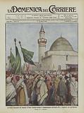 Cerimonia inaugurale del minareto di Homs demolito durante il bombardamento nell'ottobre 1911 …