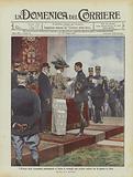 I Principi Reali consegnano solennemente a Torino le medaglie agli aviatori militari per la guerra in Libia