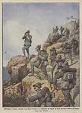 Nell'altipiano cirenaico, pattuglie degli alpini Vestone in ricognizione sui fianchi del Derna nei …
