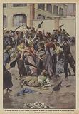 Le violenze alla liberta di lavoro, conflitto fra scioperanti ed operaie che vogliono lavorare …
