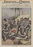Commovente episodio d'amor patrio, il caporal Carola, di cavalleria, ferito in Libia vuol baciare …