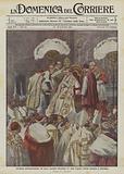 Cerimonia dell'incoronazione del nuovo pontefice Benedetto XV nella Cappella Sistina domenica 6 settembre