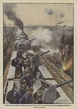 Sempre nuovi mezzi distruttivi nella guerra moderna, lotta fra due treni blindati (uno ledesco ed uno francese) nelle …