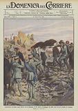 Catastrofico terremoto negli Abruzzi ed in Campania, il Re assiste al passaggio dei feriti tolti …