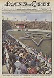 Il Natale di Roma allo Stadio nazionale, dinanzi al palco dei Sovrani, i fanciulli delle scuole …