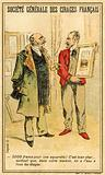 Man haggling over the price of a watercolour with an artist