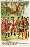 Captain Cook meeting with Maori chiefs in New Zealand, 1769