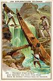 Lifting a canoe past a waterfall on Jules Crevaux's expedition to Guiana, 1876