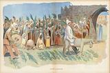 Kaiser Wilhelm II, entry into Jerusalem. Illustration for Le Rire