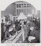 Lady clerks at a London Post Office