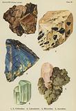 Silicates (felspar group), orthoclase, labradorite, microcline, anorthite
