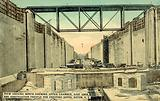 Panama Canal, view looking North showing Upper Chamber, East Lock, and construction trestle for …