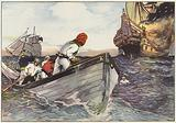 Rowing to a safe distance, the pirates lay to and with a fiendish delight watched the flames leap …