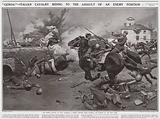 """Genoa!"", Italian Cavalry riding to the assault of an enemy position, An incident of the retreat"