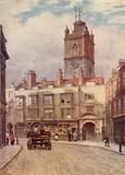 Tower of Church of St Giles, Cripplegate, and Old Houses in Fore Street, 1884