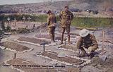 Army chaplain tending British graves