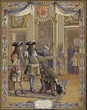 King Louis XIV, Duc d'Anjou, proclaimed King of Spain, receiving the homage of his ambassador