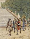 King Louis XIV and Samuel Bernard at Marly, visit to the gardens