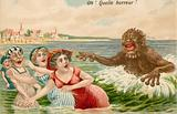 Swimmers pursued by sea monster