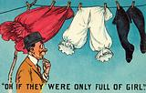Man looking at bloomers on a washing line