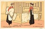 Two maids changing bed clothes