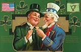 Uncle Sam and a leprechaun clinking their glasses