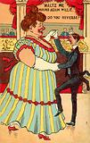 Small man waltzing with a large woman