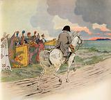 Imaginary picture of Napoleon on horse back, receiving the respect of the soldiers of Europe