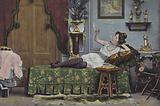 Woman smoking on a chaise longue