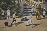 Two little boys fencing in uniforms