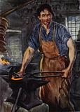 A wild, grimy figure of a man ... fashioning a piece of iron