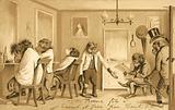 Monkey running a barber shop