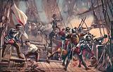 Lord Howard of Effringham on the Ark Royal, engaging Don Alonzo da Leyva, Spanish Armada