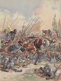 Le roi a Pavie, tombe de cheval, blesse, lutte contre la nuee d'assaillants qui l'entoure