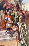 Offa, King Of Mercia, descending the steps of his throne