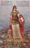 Allegorical depiction of Switzerland during the First World War