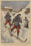 French soldiers delivering mail on skis in the Alps